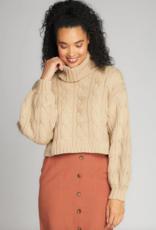 C'EST MOI C'est Moi Cropped Turtle Neck Cable Knit Sweater F'20