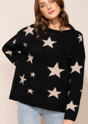 PINK MARTINI Pink Martini Beverly Sweater L/Slv Drop Shldr Star Print F'20