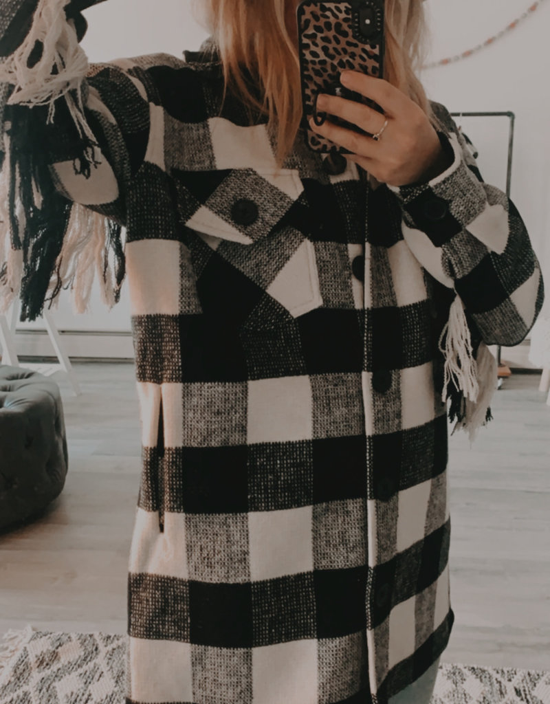 RD INTERNATIONAL Rd Int'l Collared Plaid Woven Button Down Coat w/ Fringe Detail F'20