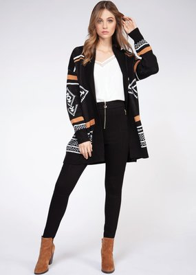 DEX Dex Cardi L/Slv Open Tribal KnitF'20