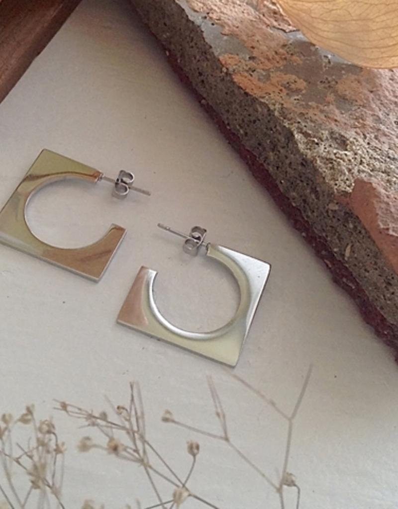 PIKA&BEAR Pika & Bear 'Fratelli' Modernist Hoop Stud Earrings