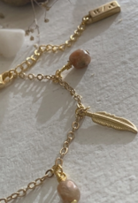 PIKA&BEAR Pika & Bear Bracelet 'Maligne' Feather & Jasper Dainty Charm