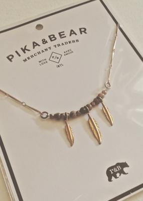 PIKA&BEAR Pika & Bear Neckalce 'Maligne' Feather & Jasper Charms