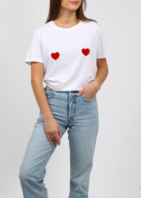 BRUNETTE BRUNETTE The 'Double Heart' Tee - Relaxed Fit Crew
