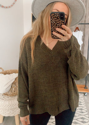Wishlist CABIN Camille V Neck Knit Sweater L/Slv