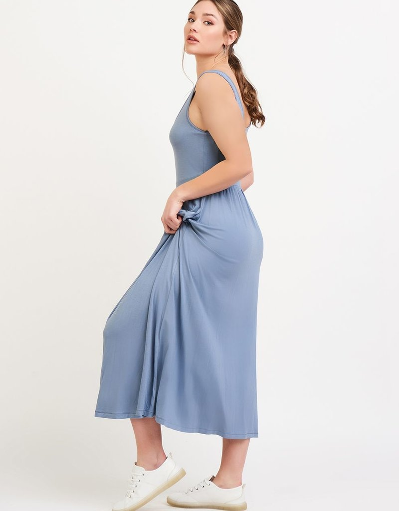 Black Tape Banded Waist Knit Midi Dress