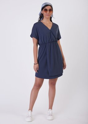 Black Tape Simple Knit Wrap Dress