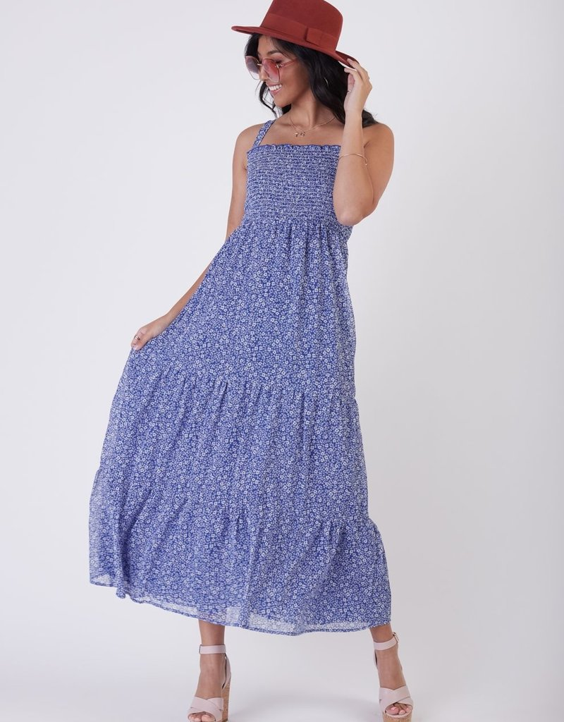 Black Tape Smocked Detail Tiered Maxi Dress