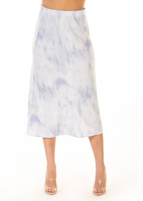 Black Tape Satin Blue Cloud Midi Skirt