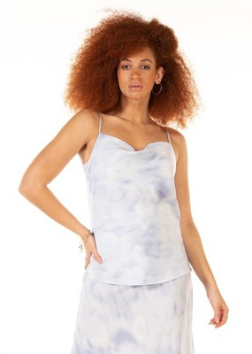 Black Tape Drape-Neck Printed Satin Blue Cloud Cami