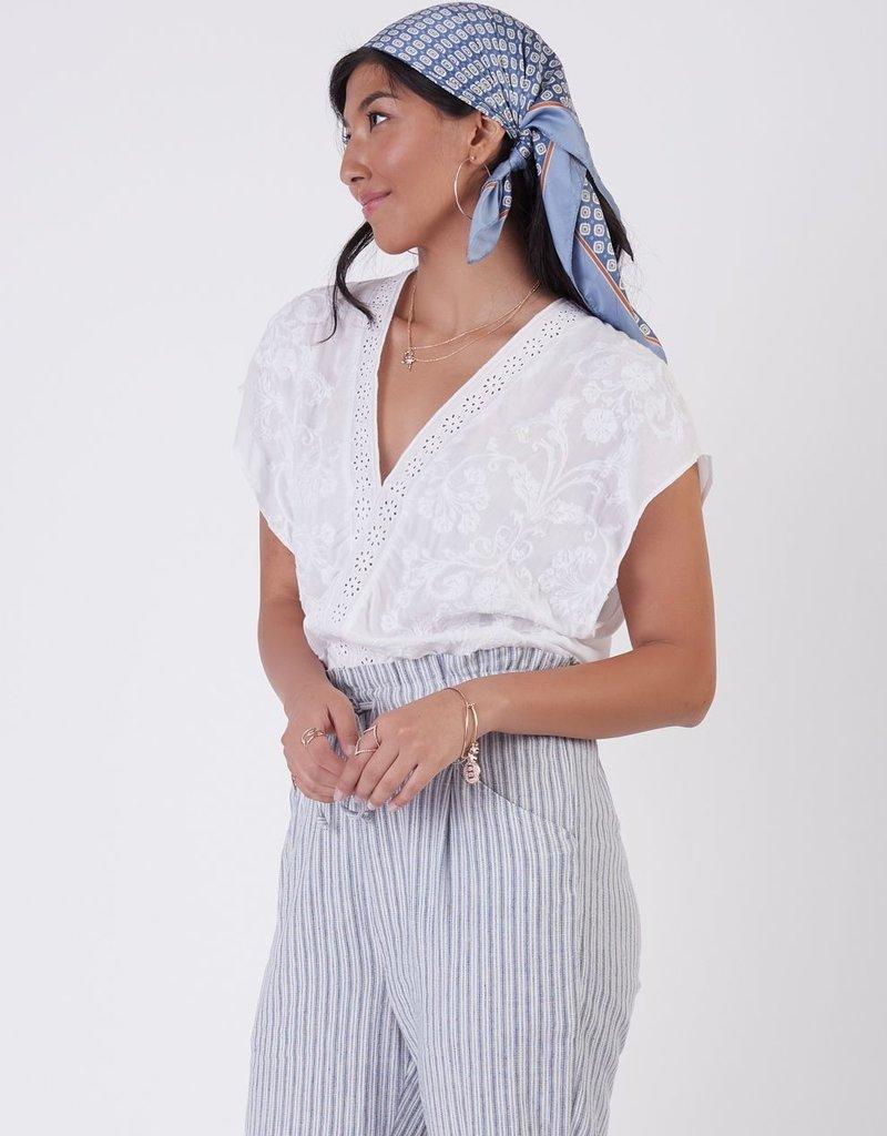 Black Tape Embroidered Floral Bodysuit