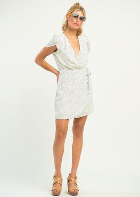 DEX Flutter Sleeve Polka Dot Wrap Dress