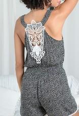 Molly Bracken Molly Bracken Romper Birdie Slv/Lss w/ Smocked Waist & Tie Detail