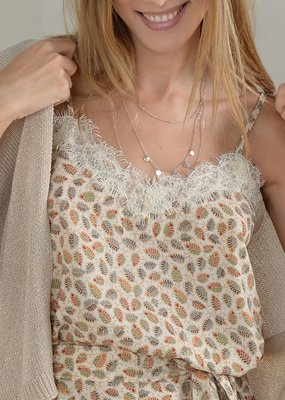 Molly Bracken Molly Bracken Cami Hannah Leaf Print w/ Lace Detail