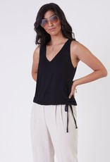 Black Tape Drawstring Hem V-Neck Knit Tank