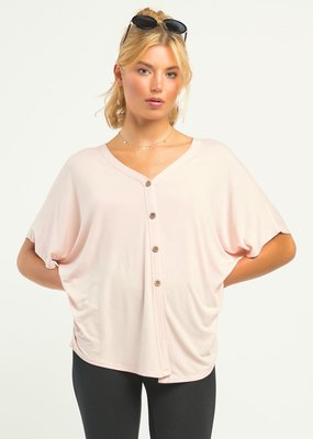 DEX S/Slv Button Front Knit Top