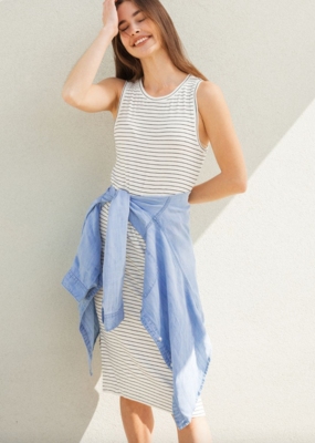 Thread and Supply CABIN Seaview Fitted Slv/Less Crewneck Midi Dress