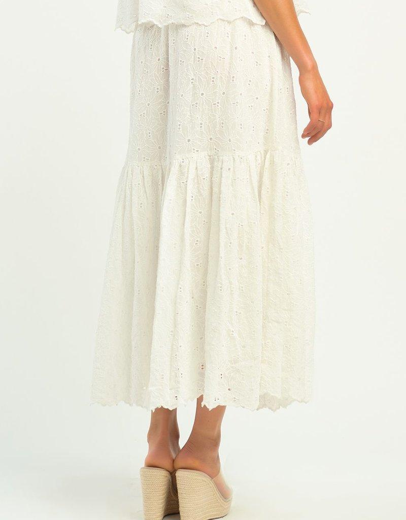 DEX Dex Skirt Celeste Floral Eyelet Midi