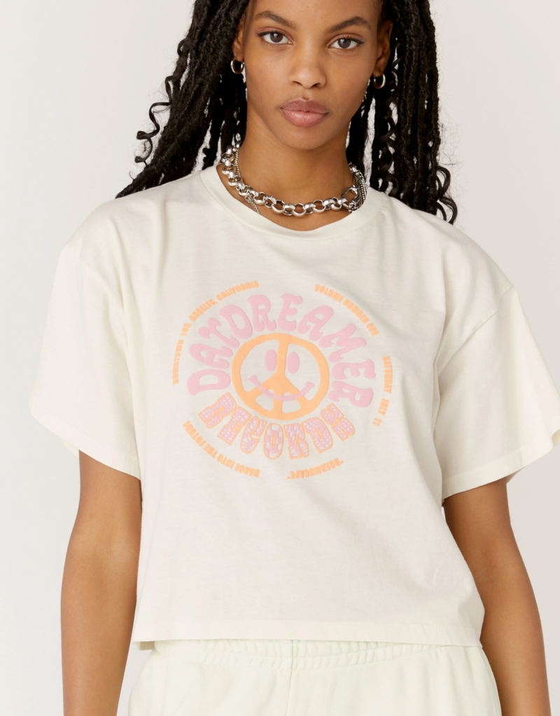 Daydreamer Daydreamer Dreamer 'Records' Cropped & Boxy Tee