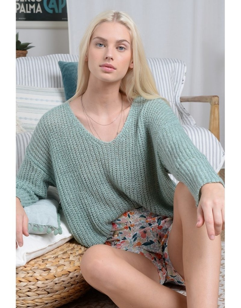 Molly Bracken Molly Bracken Sweater Charlotte L/Slv V Neck