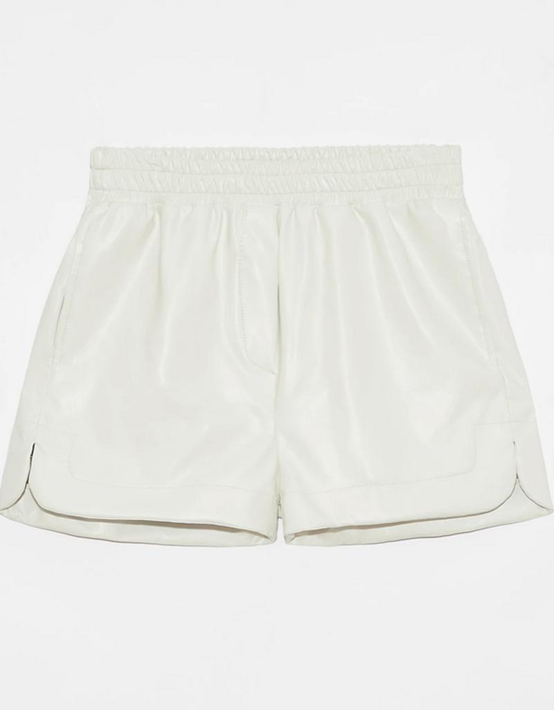 DÈLUC Deluc Sansa Vegan Leather Elastic-Waist Shorts