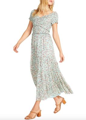 "BB DAKOTA BB Dakota Dress ""Joie De Vivre"" Cross Smocked Maxi"