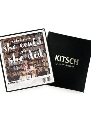 Kitsch Kitsch Necklace/Earring Box Set She Believed Chevron
