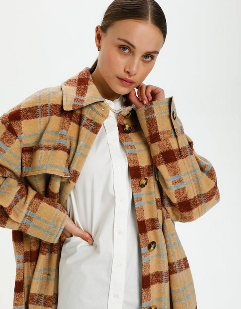 Soaked in Luxury Soaked in Luxury Cookie Coat Plaid Buttondown