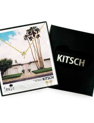 Kitsch Kitsch Necklace/Earring Box Set Smile Palm Tree