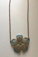 ORNAMENTAL THINGS Ornamental Things Aqua Flower Necklace