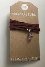 Amano Necklace Suede Wrap Choker w/ Stone