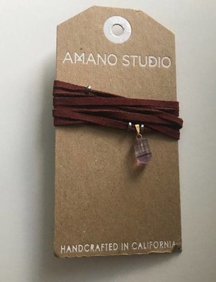 Amano Necklace Suede Wrap Choker w/ Stone