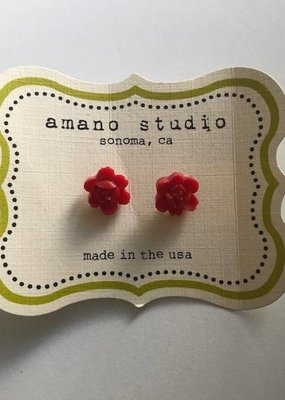 Amano Earrings Vintage Style Resin Flowers
