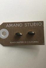 Amano Earrings Navette Stone Studs
