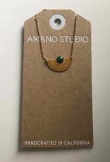 Amano Necklace Gold Hammered Semi Circle w/ Stone