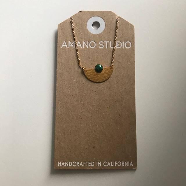 Amano Necklace Gold Hammered Semi Circle w/ Stone