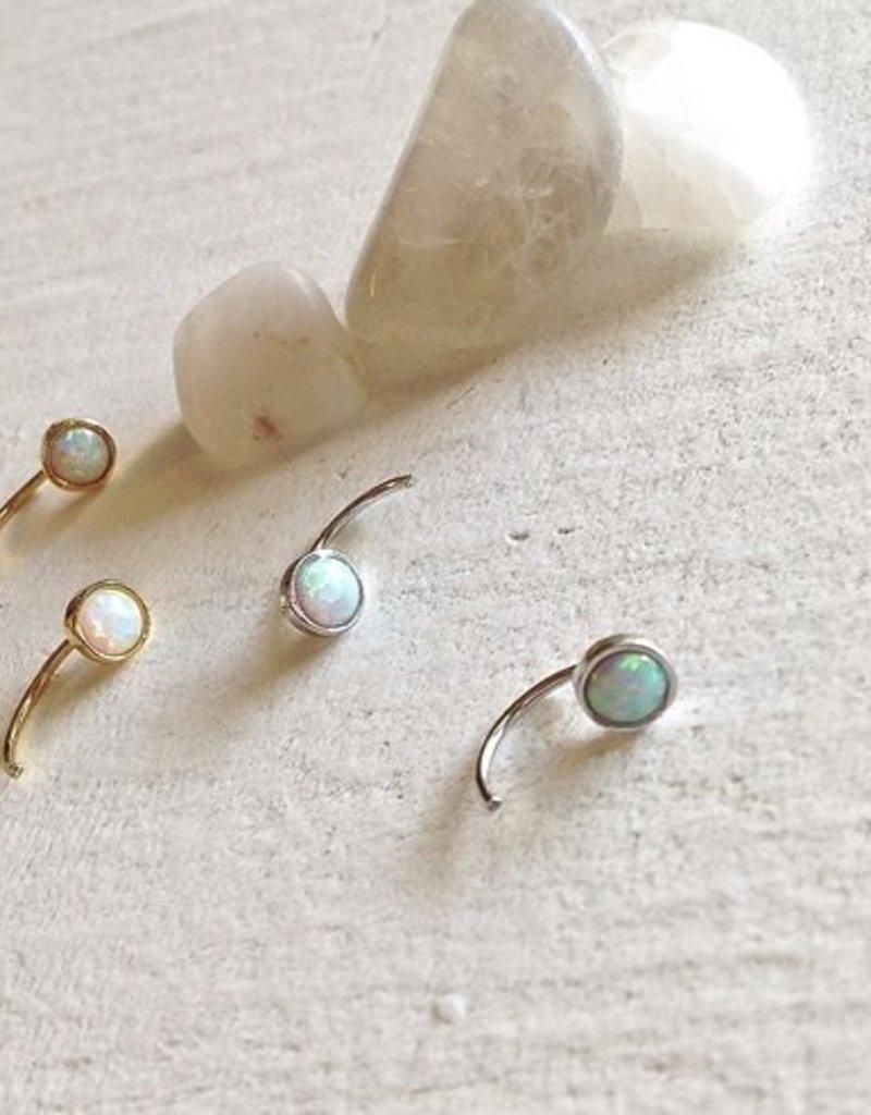PIKA&BEAR Pika & Bear 'Sidewinder' Opal Crescent Stud Earrings