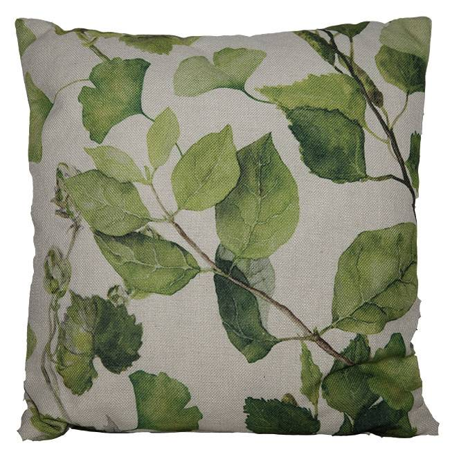 Coussin imprimé de feuilles vertes