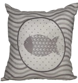 Coussin gris décoré d'un poisson