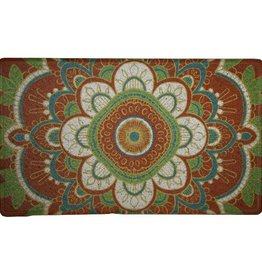 carpette d'entrée fleur médaillon orangé