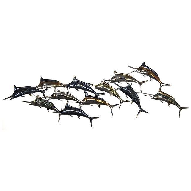 Décoration murale en poissons métalliques