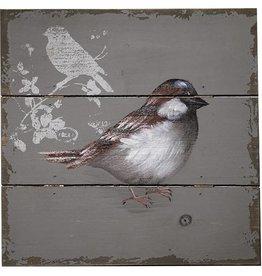Décoration murale d'un oiseau peint sur bois