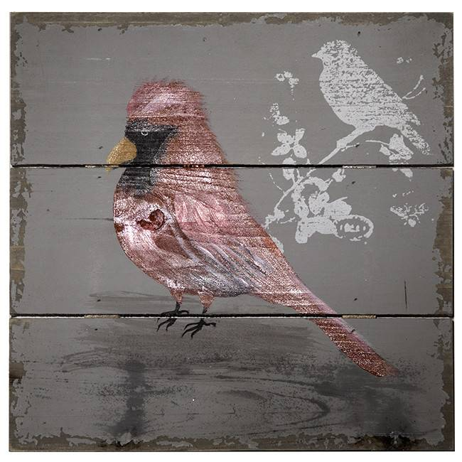 oiseau peint sur bois