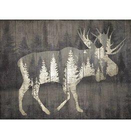 Cadre orignal et forêt avec dorure sur bois