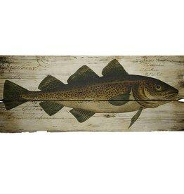 Illustration d'un poisson sur fond de bois