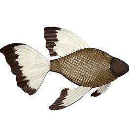 poisson mural metal et osier