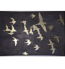 Gigantesque toile décorée d'oiseaux dorés