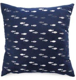 Coussin bleu avec poissons argentés