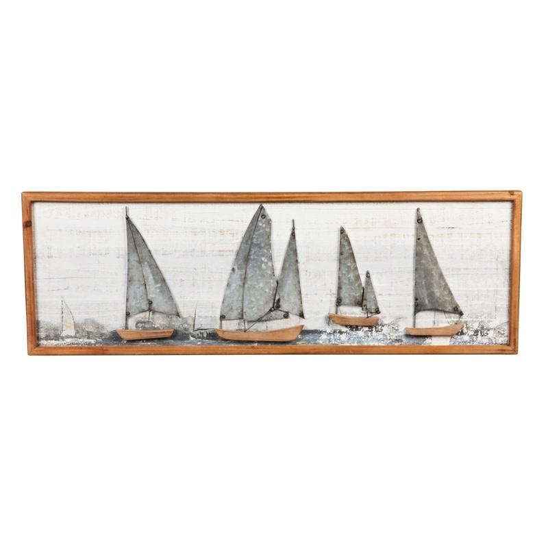 Peinture de voiliers encadrée de bois