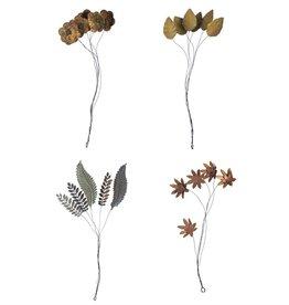fleur et feuille métal